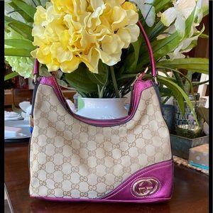 Gucci Logo GG Canvas/Metallic Leather shoulder bag